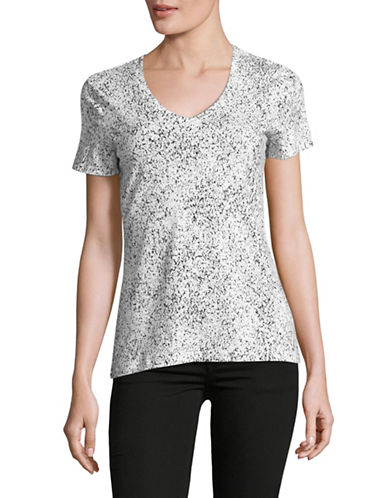 Lord & Taylor Printed V-Neck Tee-WHITE/BLACK-Small