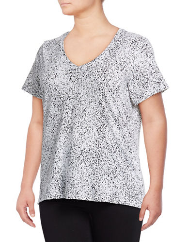 Lord & Taylor Plus Plus Static Print V-Neck Short-Sleeve Tee-WHITE/BLACK-1X