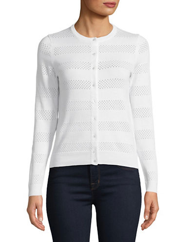 Lord & Taylor Petite Pointelle Crew Neck Cotton Cardigan-WHITE-Petite X-Small