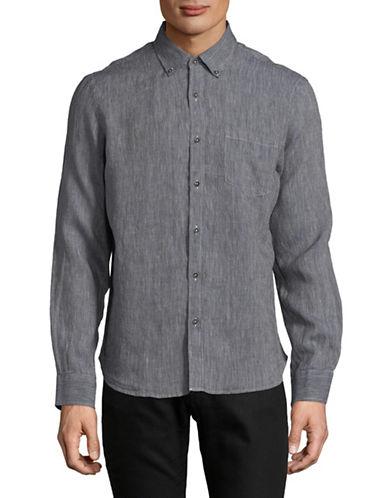 Black Brown 1826 Fancies Linen Sport Shirt-DARK BLUE-Large