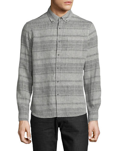 Black Brown 1826 Striped Linen Sport Shirt-GREY-Small