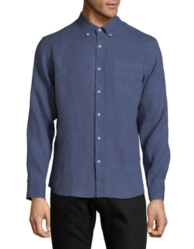 Black Brown 1826 Classic Linen Sport Shirt-BLUE-Small