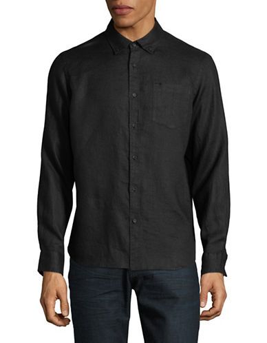 Black Brown 1826 Classic Linen Sport Shirt-BLACK-X-Large