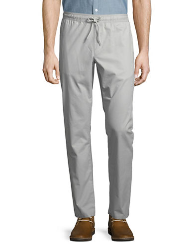 Black Brown 1826 Drawcord Cotton Chino Pants-GREY-32X30