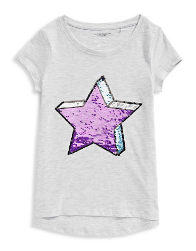 Manguun Star Sequin Tee-GREY-Medium