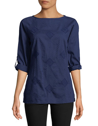Manguun Embroidered Long-Sleeve Blouse-BLUE-42