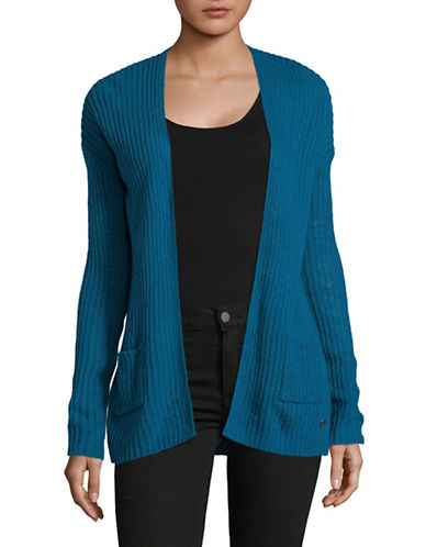 Manguun Ribbed Long-Sleeve Open Front Cardigan-BLUE-X-Large