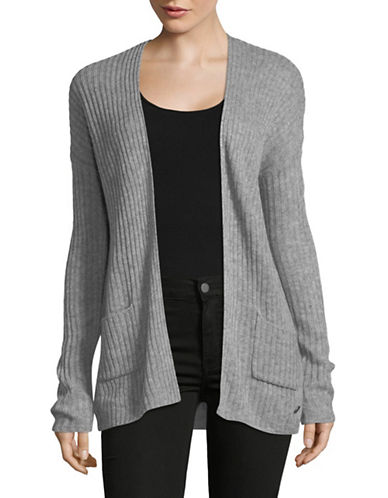 Manguun Ribbed Long-Sleeve Open Front Cardigan-GREY-Small