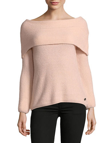Manguun Long-Sleeve Off-The-Shoulder Sweater-PINK-Medium