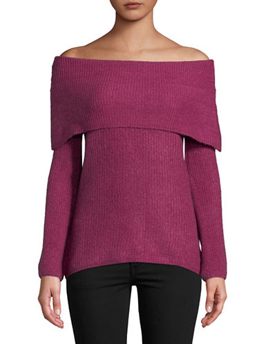 Manguun Long-Sleeve Off-The-Shoulder Sweater-PURPLE-Small