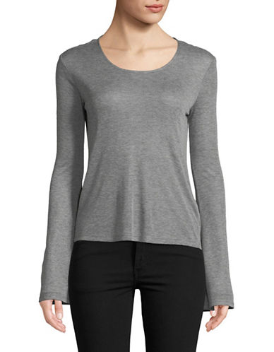 Design Lab Lord & Taylor Bell-Sleeve Scoop Neck Top-GREY-Large