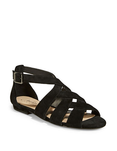 424 Fifth Mandy Crisscross Sandals-BLACK-7.5