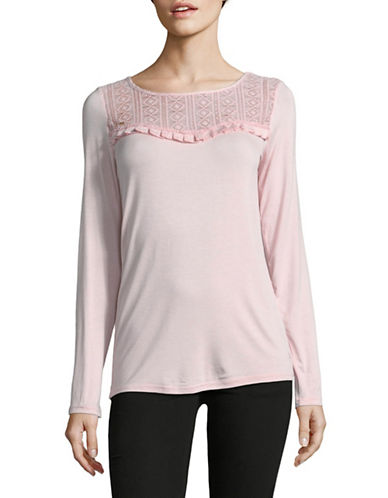 Manguun Long-Sleeve Lace Yoke Top-PINK-X-Large