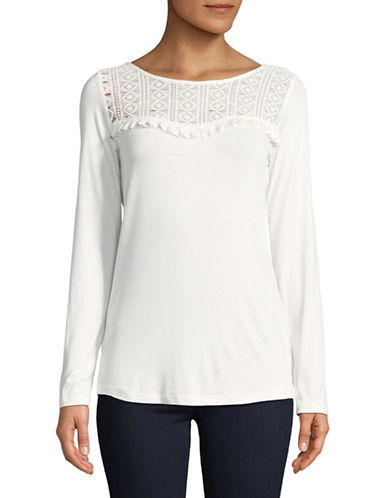 Manguun Long-Sleeve Lace Yoke Top-WHITE-Large
