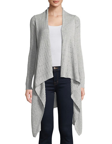 Manguun Long-Sleeve Open Knit Cotton Cardigan-GREY-Large