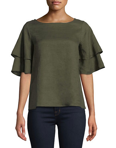 Lord & Taylor Kamila Linen Flutter Sleeve Top-GREEN-Large 89752915_GREEN_Large