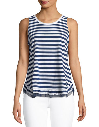 Lord & Taylor Tulle-Trimmed Cotton Tank Top-NAVY-Large 89757925_NAVY_Large