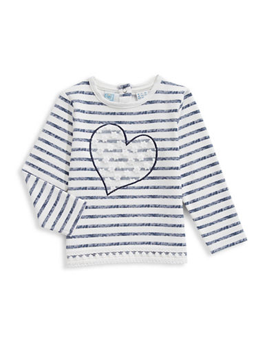 Bob Der Bar Striped Heart Top-WHITE-6-9 Months