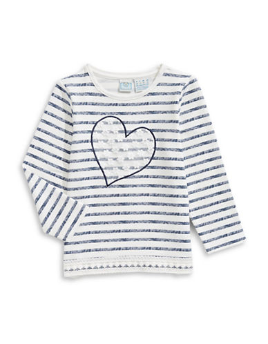 Bob Der Bar Striped Lace Heart Tee-WHITE-6X