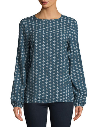Manguun Geometric Long-Sleeve Blouse-BLUE-44