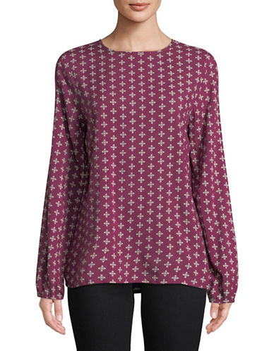 Manguun Geometric Long-Sleeve Blouse-PURPLE-38
