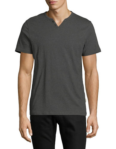 Manguun Short Sleeved Henley T-Shirt-LIGHT GREY-Large