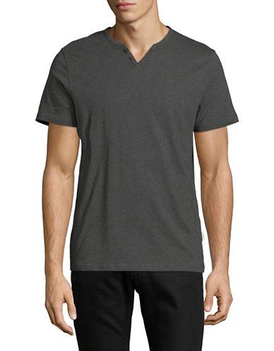 Manguun Short Sleeved Henley T-Shirt-LIGHT GREY-Small