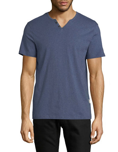 Manguun Short Sleeved Henley T-Shirt-BLUE-Medium