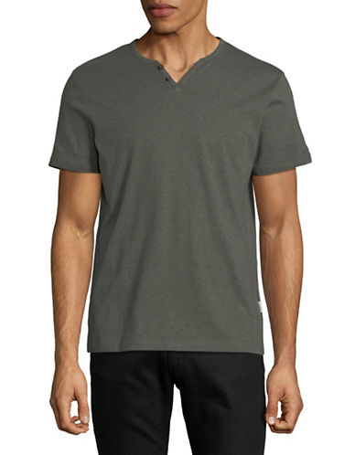 Manguun Short Sleeved Henley T-Shirt-GREEN-Medium