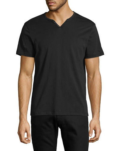 Manguun Short Sleeved Henley T-Shirt-GREY-Small