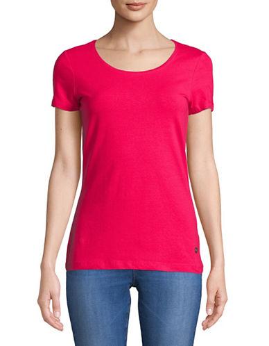 Manguun Scoop Neck Basic Short-Sleeve Tee-PINK-Large 89703678_PINK_Large