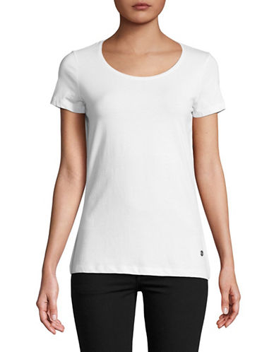 Manguun Scoop Neck Basic Short-Sleeve Tee-WHITE-Large 89703666_WHITE_Large