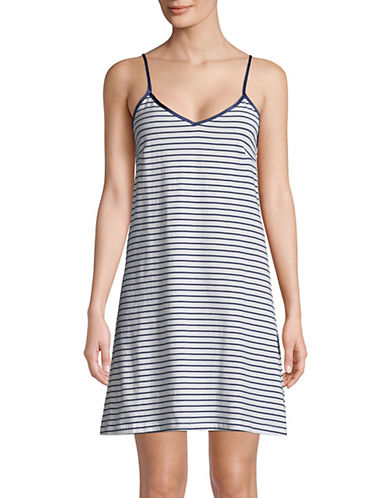 Lord & Taylor Short Chemise-WHITE STRIPE-Small 89855558_WHITE STRIPE_Small