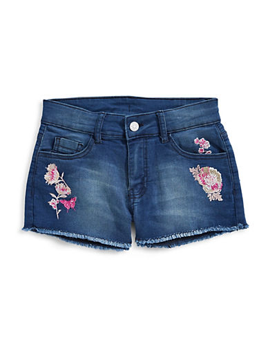 Manguun Embroidered Denim Shorts-BLUE-X-Large 89760207_BLUE_X-Large