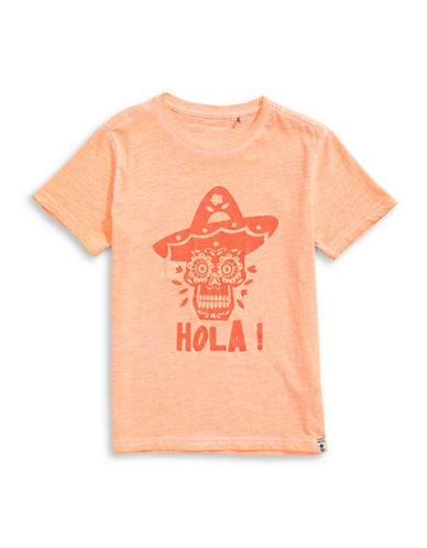Manguun Graphic Cotton Tee-ORANGE-Medium