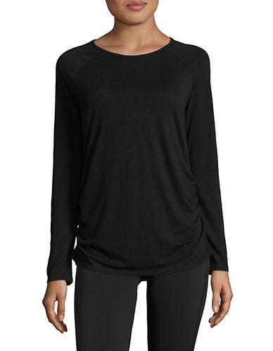 Askya Slub Raglan-Sleeve Keyhole Jersey Top-BLACK-X-Large 89773376_BLACK_X-Large