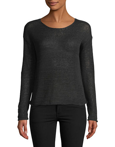 Lord & Taylor Long-Sleeve Boxy Pullover-BLACK-Large 89869489_BLACK_Large
