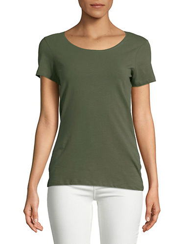 Lord & Taylor Scoop Neck Short-Sleeve Tee-GREEN-X-Large 89871012_GREEN_X-Large