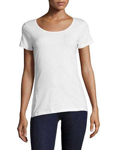 Lord & Taylor Scoop Neck Short-Sleeve Tee-WHITE-Large 89871001_WHITE_Large