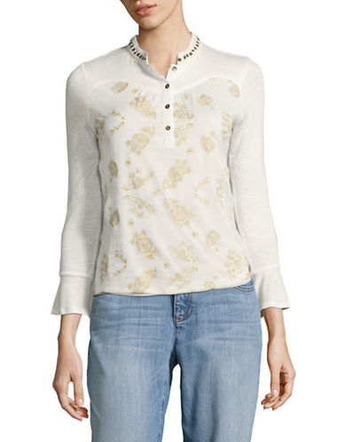 Style And Co. Petite Embroidered Woven Blouse-WHITE-Petite Large