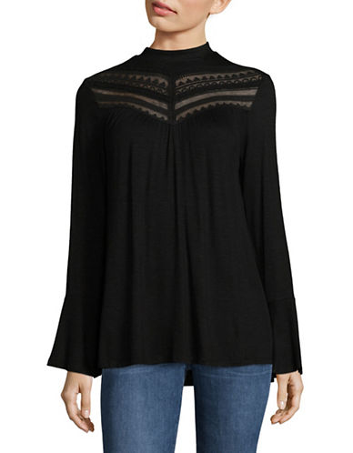 Style And Co. Keyhole Bell Sleeve Blouse-BLACK-Small 89548443_BLACK_Small