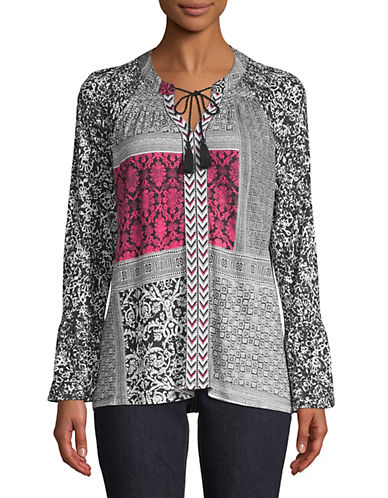 Style And Co. Multi-Print Bell-Sleeve Top-BLACK-X-Large