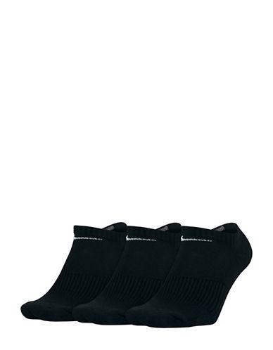 Nike Unisex Three-Pack Performance Cushion No-Show Training Socks-BLACK-One Size