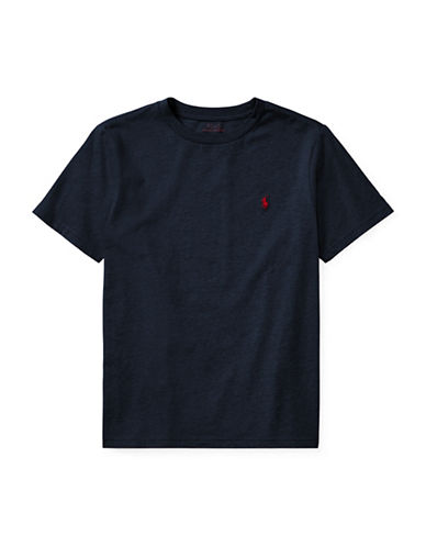 Ralph Lauren Childrenswear Crew Neck Cotton Jersey T-Shirt-NAVY-Medium