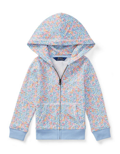 Ralph Lauren Childrenswear Floral Terry Zip Hoodie-BLUE-6X