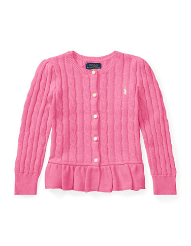Ralph Lauren Childrenswear Girls Cable Cotton Peplum Cardigan-PINK-2T