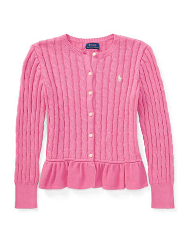 Ralph Lauren Childrenswear Cotton Cable Knit Peplum Cardigan-PINK-XLarge