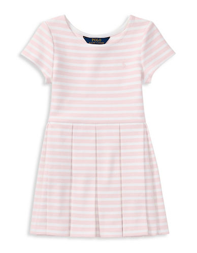 Ralph Lauren Childrenswear Stripe Ponte Pleated Dress-PINK-3T