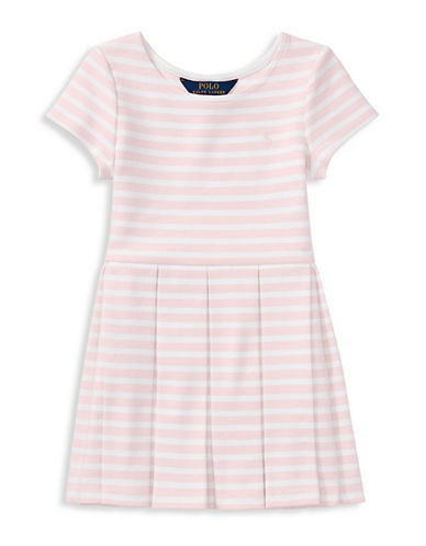 Ralph Lauren Childrenswear Striped Ponte Pleated Dress-PINK-6X