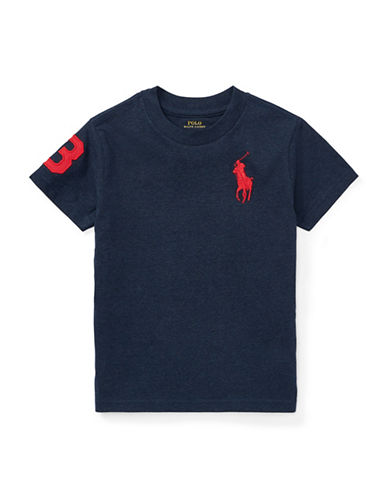 Ralph Lauren Childrenswear Crew Neck Cotton Jersey Tee-NAVY-3